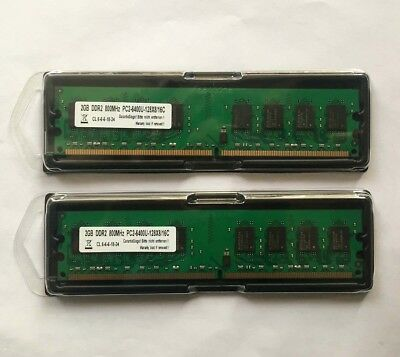 2x 2GB 4GB RAM PC Speicher DDR2 800 Mhz PC2-6400U f. Intel +AMD Low Density DIMM