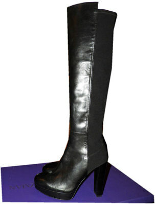 08dc40e8ecd Stuart Weitzman Highway 5050 Over The Knee Flat Black Stretch Leather Boot  9.5