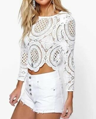 Boohoo Holly Crochet Lace Zip Back Crop Top Size 10 - White