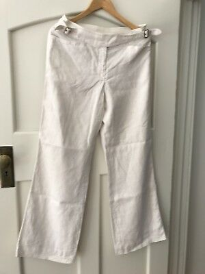 Vintage 80's  Armani Pure White Linen High Waisted Sailor Pants Lined Size 10/12