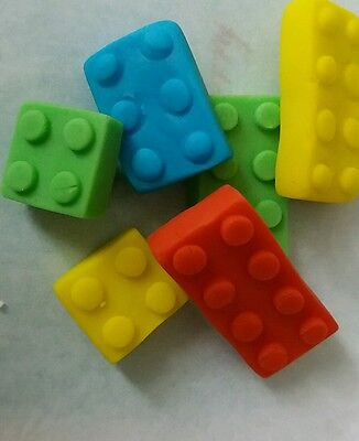 12x lego brick style icing cake topper classic colours RAINBOW Friends