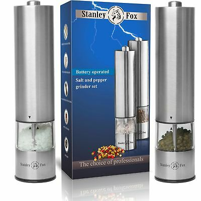 Electric salt and pepper grinder set - Salt and Pepper shakers with LED -