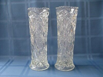 Vintage Pair of Heavy Tall Clear Cut Glass Art Deco Vases c 1920's/1930's
