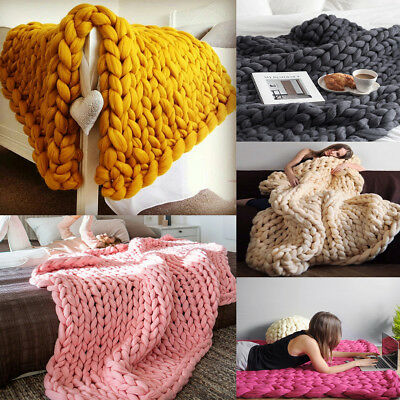 Wool Chunky Knitted Thick Blanket Yarn Bulky Knit Throw Sofa Blanket 3 Sizes HOT