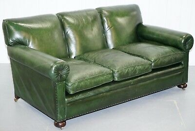Stunning Victorian Green Leather Maple & Co The Hever Three Seater Club Sofa