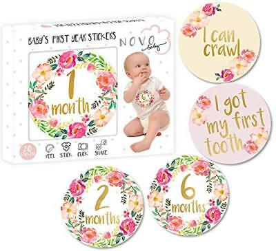 Baby Girl Monthly Milestone Stickers | Set of 20 Floral Gold Stickers | Birth to