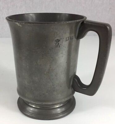 Antique Pewter Pint Measure Tankard By T. Forster Works Initialed 13cm In Height