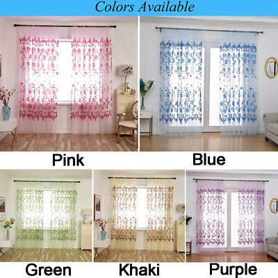 Light-weight Floral Peony Sheer Curtain Decor Window Gauze For Living Room 1 Pcs