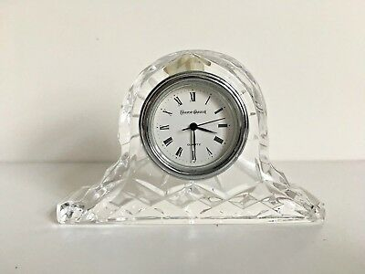 Beautiful Design Cut Glass Tyrone Crystal Table Clock Signed