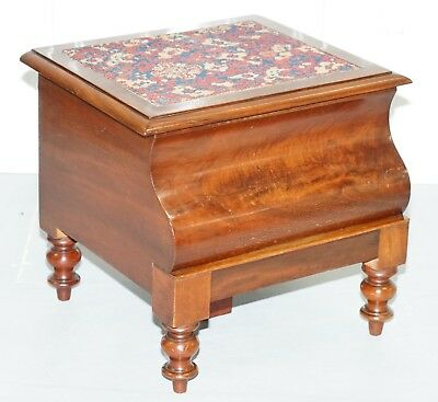 Rare Fully Complete Victorian American Bed Step Stool With Built In Chamber Pot
