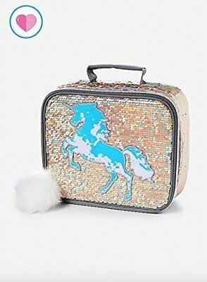 Justice Lunch Tote Bag Flip Sequin Gold Unicorn
