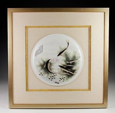 Old Chinese Hand Painted Porcelain Round Tile Plaque With Fish And Writing