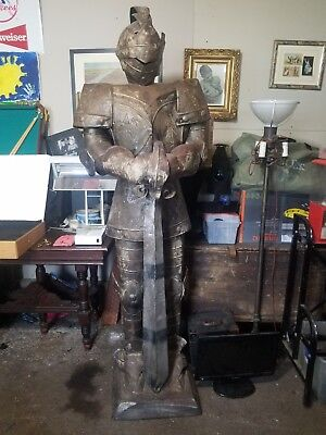 "Large Medieval Knight Tall Royal Guardian Decorative Figurine Statue 79"" Height"