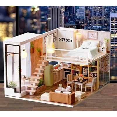 Diy Wooden Doll House With Furniture Staircase Fits Barbie Dollhouse