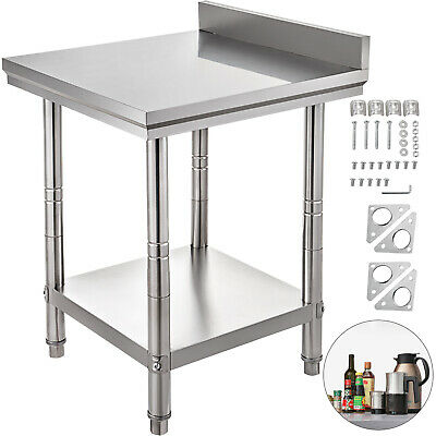 Stainless Steel Work Table Kitchen Utility Bench w/ Backsplash 24 x 24 18 Gauge