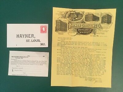 1903 Letterhead Stamped Envelope & PC HAYNER DISTILLING CO PURE WHISKEY St Louis