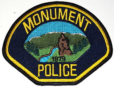 MONUMENT COLORADO CO Police Sheriff Patch ROCK STATUE RIVER MOUNTAINS ~