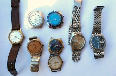 Job Lot Of 8 Mens Vintage Watches - All Spares Or Repair - Includes 2 Seiko