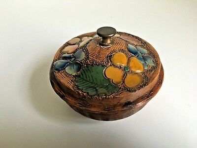 RARE Vintage hand painted Clover Leaf Lidded Wooden Bowl Small trinket box