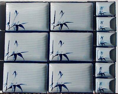 6 x Japanese Serving Plate Rectangle Hand painted Bamboo Porcelain Blue White