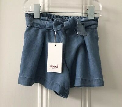 Seed Heritage Girls Tie Waist Shorts Size 3 Years RRP$29.95