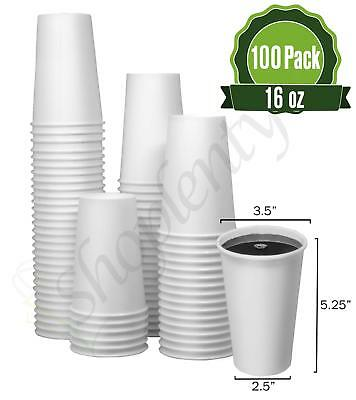Hot White Paper Coffee Cups [ 16oz - 100 Pack ] - Disposable Coffee Cups Ideal