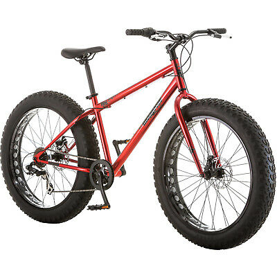 Fat Tire Bike 26 Mongoose Hitch Mens All Terrain Seven Sd Twist Shifters Red