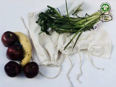 Cotton Canvas Muslin Bag. Double Drawstring. Natural Color. Pack of 25 (12 x 18