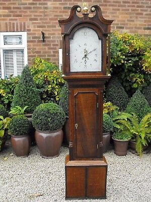 Old Antique Grandfather Clock With Swan Neck