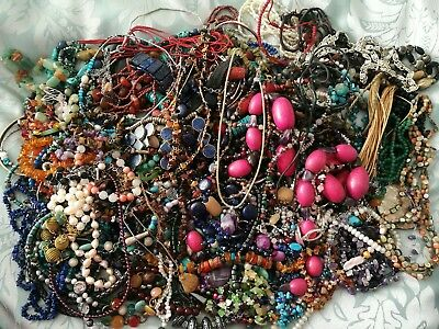 Large Job Lot Of 149 Gemstone Jewellery Including Silver