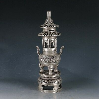 Chinese Silvering Copper Pagoda Incense Burner Made During The Qianlong Period+a