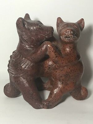 Mexican Folk Art Aztec Dancing Dogs Figurine Colima Xolo Red Clay Pottery