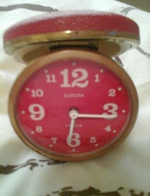 Vintage Red Europa Alarm Clock, 2 Jewels, Made In Germany