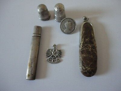 small job lot of antique silver items