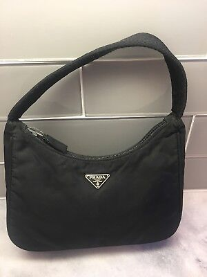 7d3ee47f87 100% AUTH PRADA Black Nylon Hand Bag Shoulder Bag Made In Italy With ...