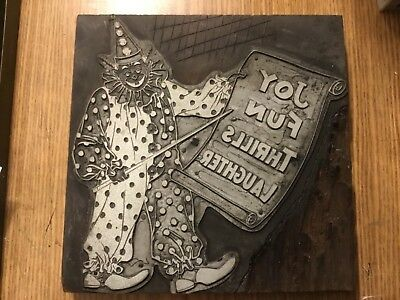 "Letterpress Printing Block Clown With Sign Advertising Cut Huge 7 1/4"" Square"