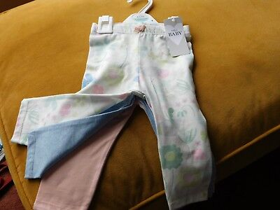 baby set of 3 leggings  each different colour  age 6 - 9 months  M&S
