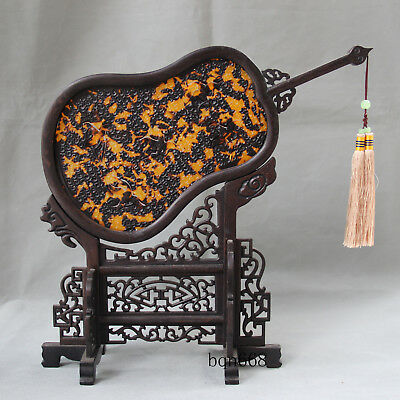 """13"""" China rare old antique Tortoise shell fans wood screen statue"""