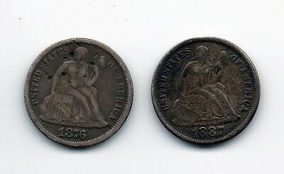 1876 & 1887 Liberty Seated Dime Love Tokens