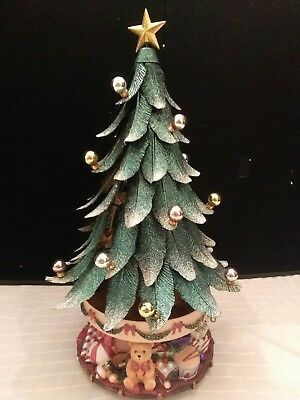 Partylite Christmas Tree Musical Silent Night Metal Tealight Retired W 16  Bulbs - PARTYLITE CHRISTMAS TREE Musical Silent Night Metal Tealight Retired