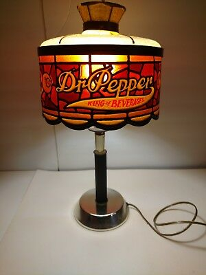 Vintage Dr Pepper Lamp Plastic Stained Glass Like Shade Works