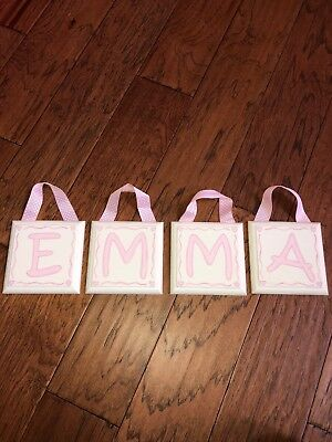 Wooden Letters With Ribbon EMMA Nursery Room Decor Girls Room