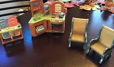 Fisher Price Loving Family Lot of Dollhouse Furniture Kitchen, High Chair, Chair