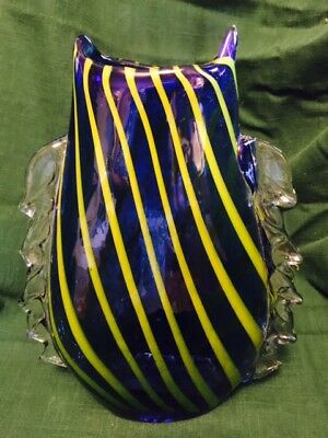 Vintage Art Glass Vase (hand  crafted)