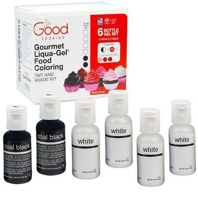 """Food Coloring Liqua-Gel - 6 Bottle Black and White""""Shade Tint Kit"""" Kit in..."""