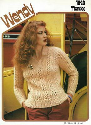"WE1489 LADIES ARAN LACY SWEATER KNITTING PATTERN 32-40""/81-102cm"