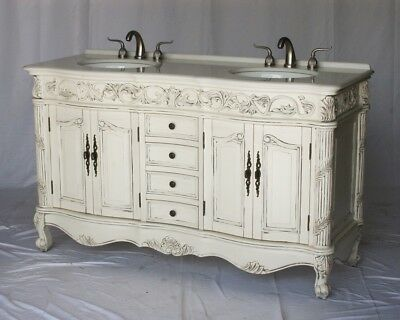 """60"""" Antique Style White Double Sink Bathroom Vanity W/ Imperial White Stone Top"""