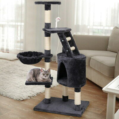 Pet Cat Tree Scratching Post Play Activity Tower Furniture With Hammock  120cm