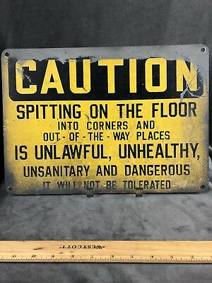 """Vintage Caution Sign from The Fenton Factory 10"""" x 14"""" & Letter Of Authenticity"""