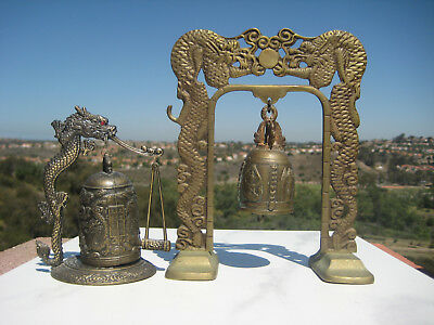 Vintage Oriental Buddhism Brass Dragon Bell  And Gong China  Tibet